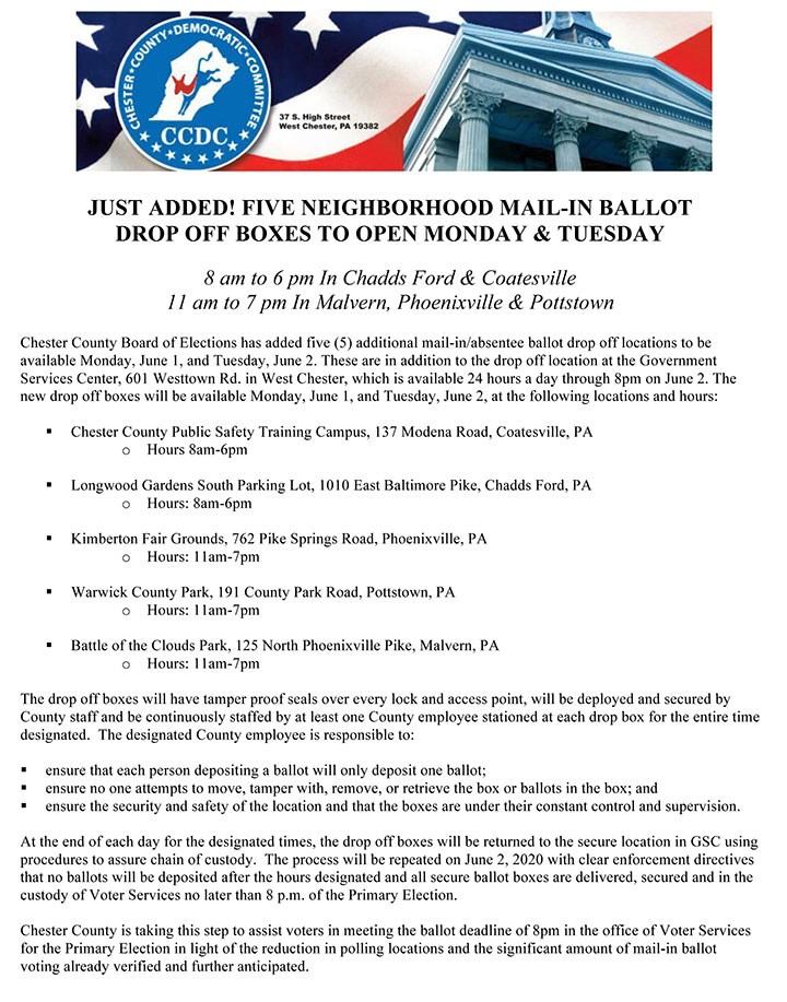 FIVE NEIGHBORHOOD MAIL-IN BALLOT DROP OFF BOXES TO OPEN MONDAY & TUESDAY